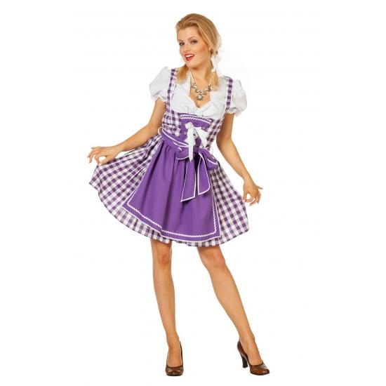 Dirndl jurk paars met schort