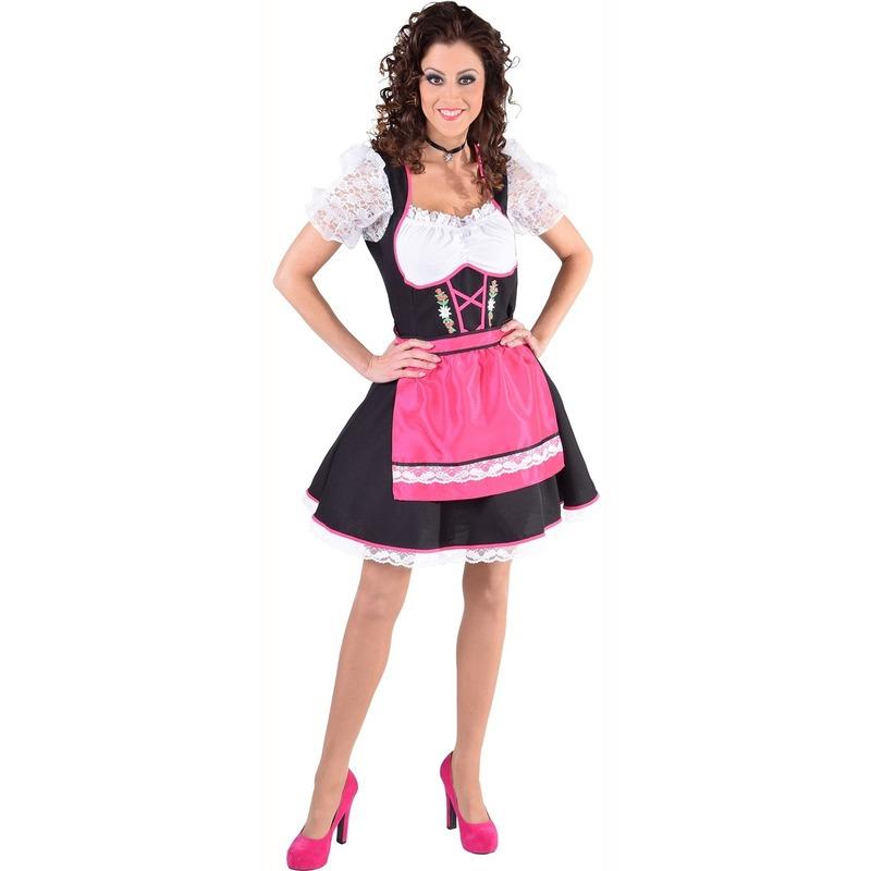 Dirndl jurk zwart/wit met fuchsia roze schort voor dames