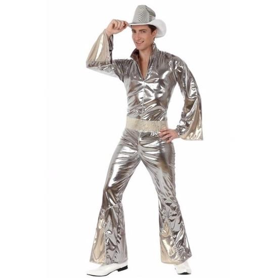 Disco jumpsuit glimmend zilver