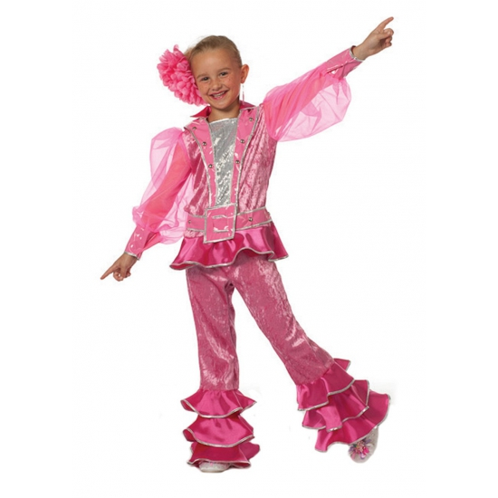 Disco kinder verkleedkleding roze