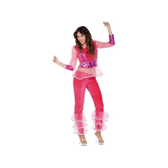 Disco kostuum roze voor dames