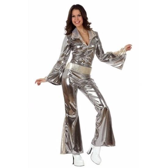 Disco verkleedkleding zilveren jumpsuit