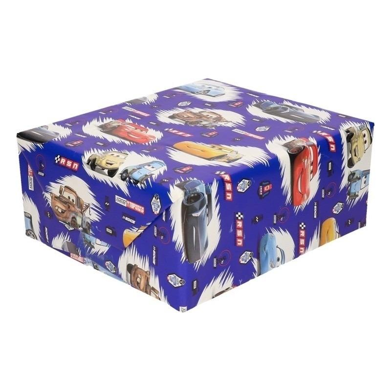 Disney inpakpapier/cadeaupapier Cars blauw 200 x 70 cm op rol