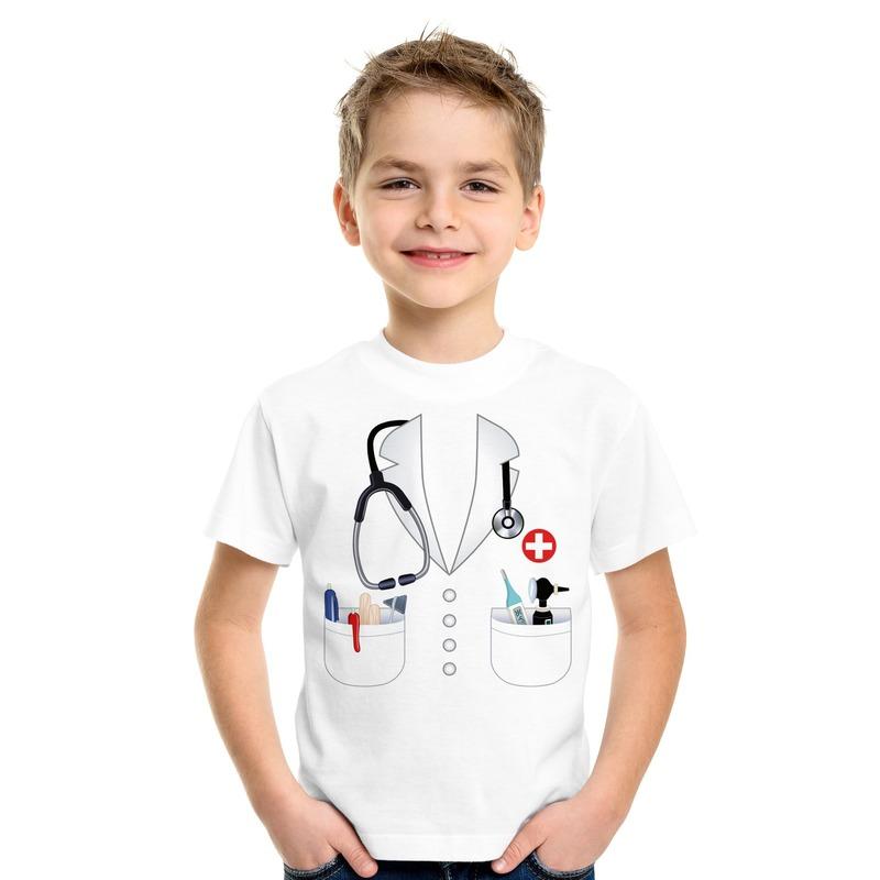 Doktersjas kostuum t-shirt wit voor kinderen