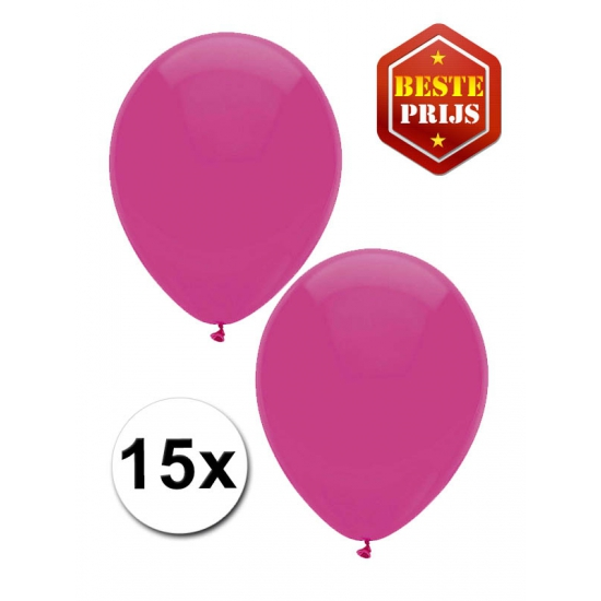 Donkerroze ballonnen 15 stuks 27 cm