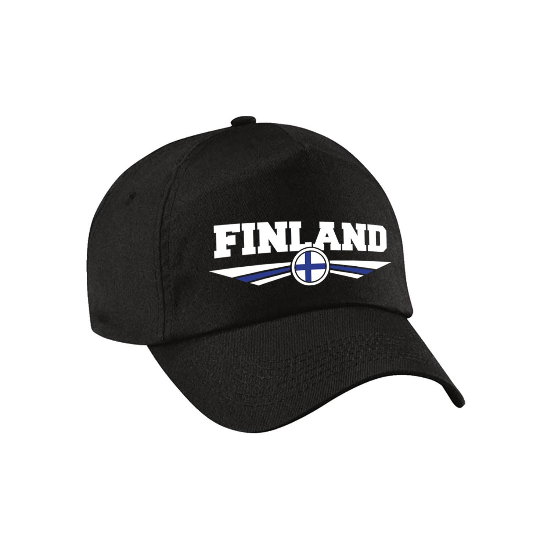 Finland landen pet - baseball cap zwart kinderen