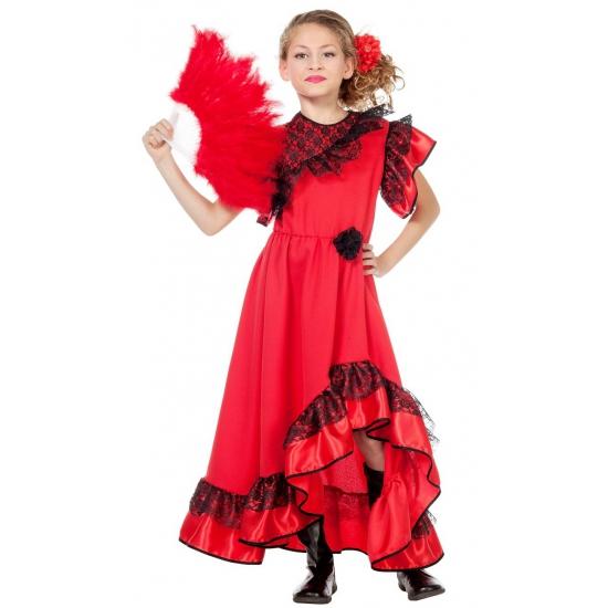 Flamenco danseres jurk rood voor meiden