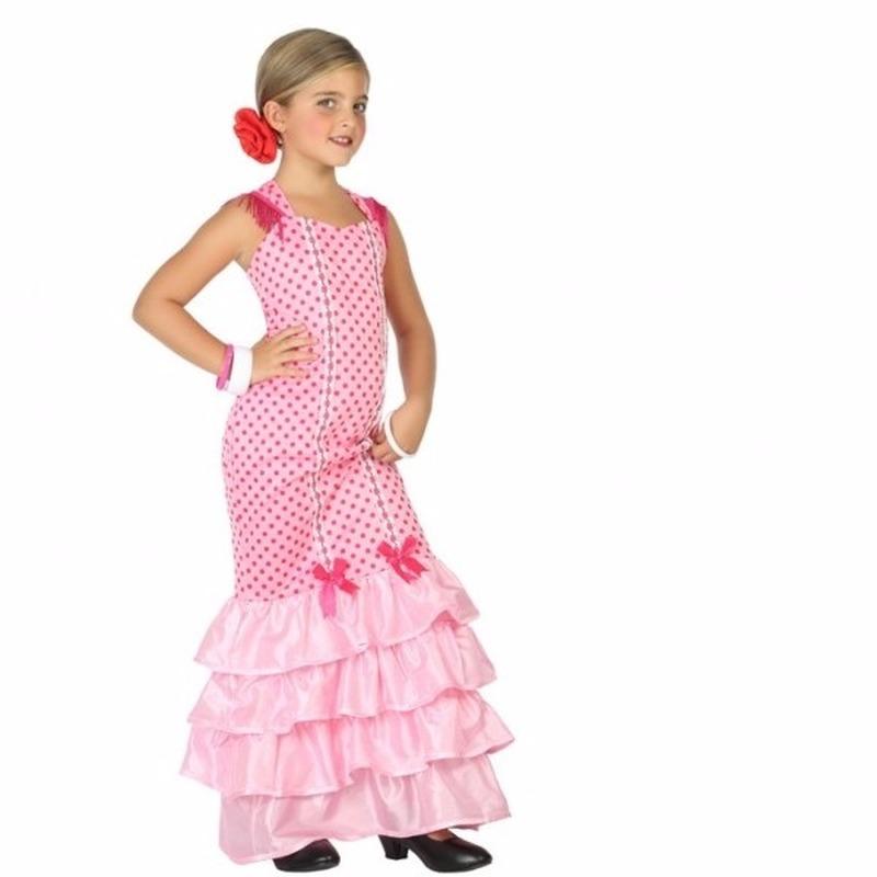 Merkloos Flamenco danseres kostuum voor kinderen roze