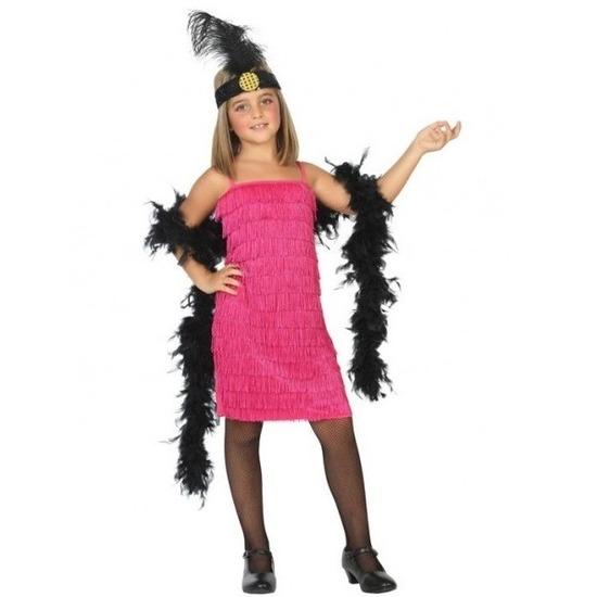 Merkloos Flapper franje verkleed kostuum/jurkje roze voor meisjes