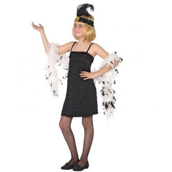 Merkloos Flapper franje verkleed kostuum/jurkje zwart voor meisjes