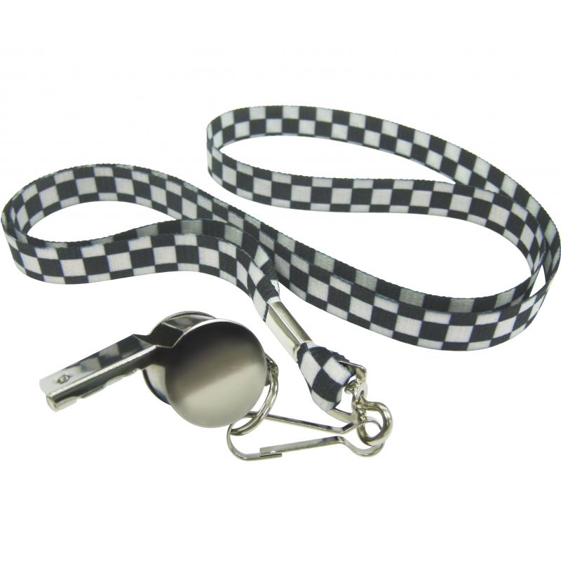 Fluitje aan zwart/witte ketting