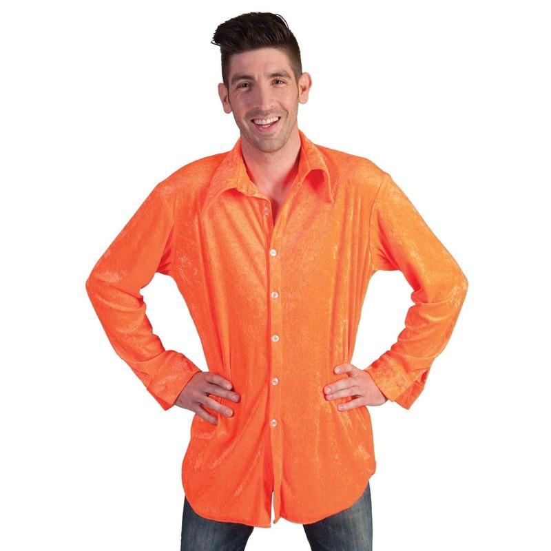 Fluwelen oranje overhemd voor heren