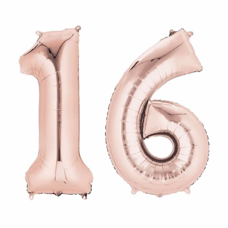 Folie ballon cijfer 16 rose goud