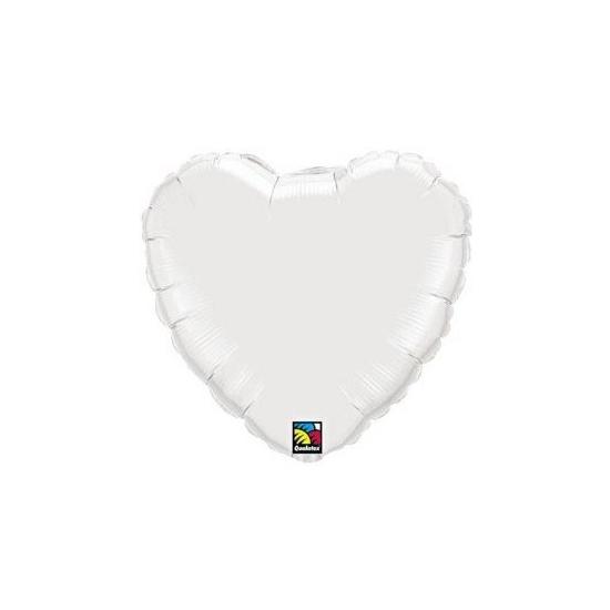 Folie ballon wit hart 45 cm