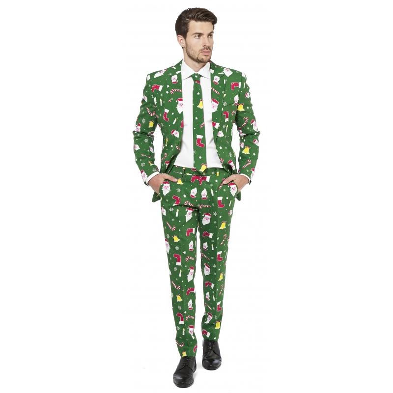 Fout carnavalspak met kerst print groen