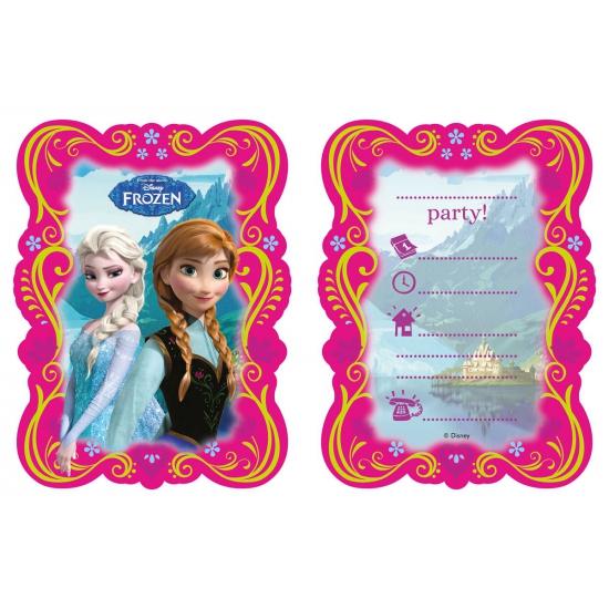 Frozen partijtje uitnodigingen 6 stuks