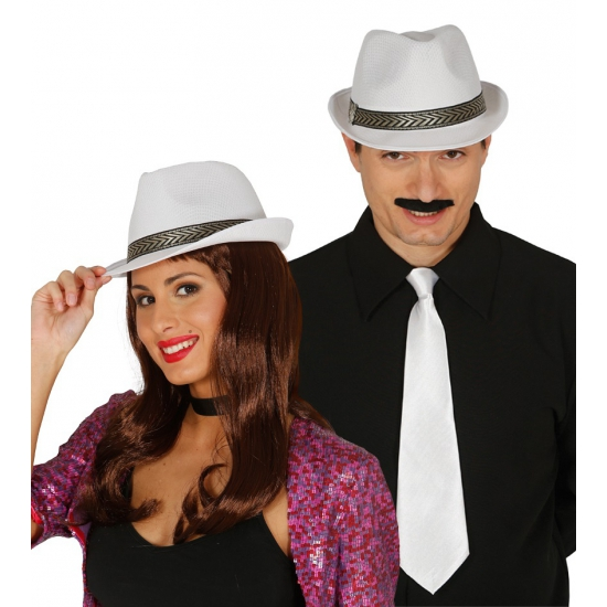 Merkloos Gangster hoed wit