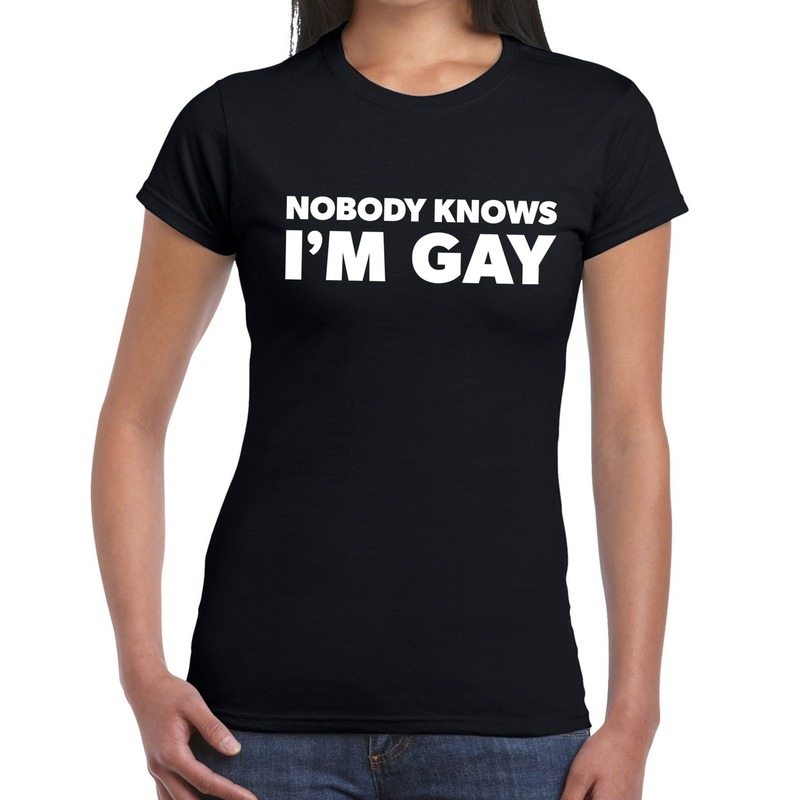 Gay pride nobody knows i am gay t-shirt zwart voor dames
