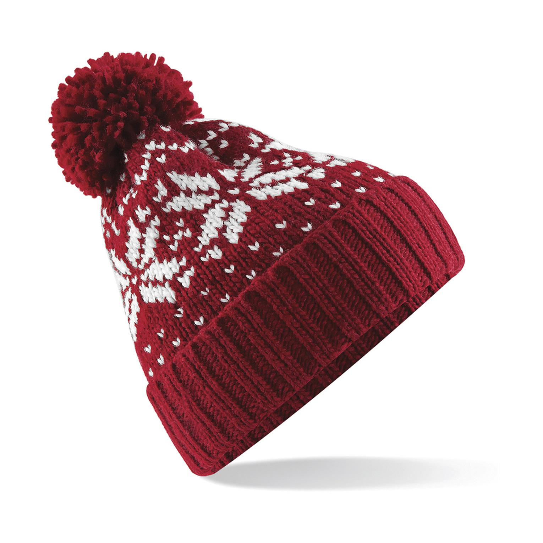 Gebreide Nordic Wintermuts met pom pom rood/wit