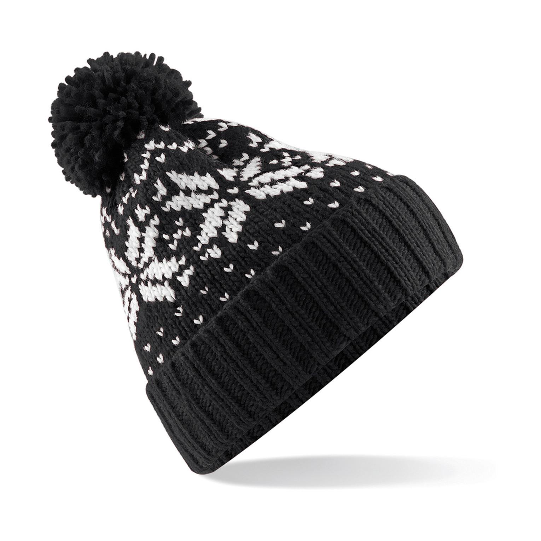 Gebreide Nordic Wintermuts met pom pom zwart/wit