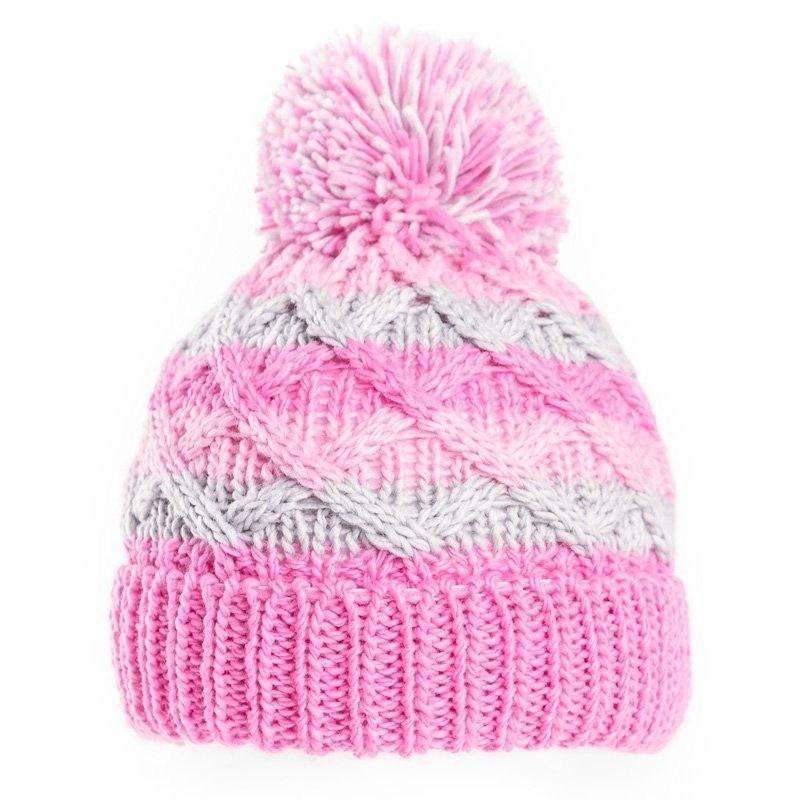Gebreide winter muts roze/grijs met pompon voor baby