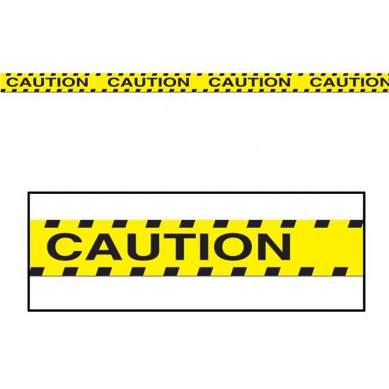 Geel markeerlint met zwarte tekst Caution 6 meter