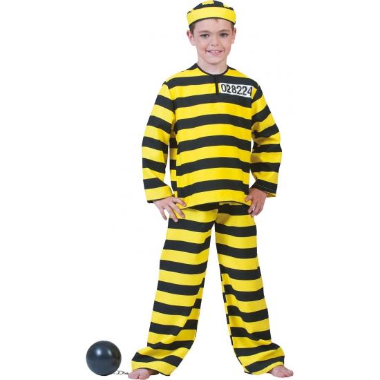 Geel zwart gestreept boevenpak voor kinderen