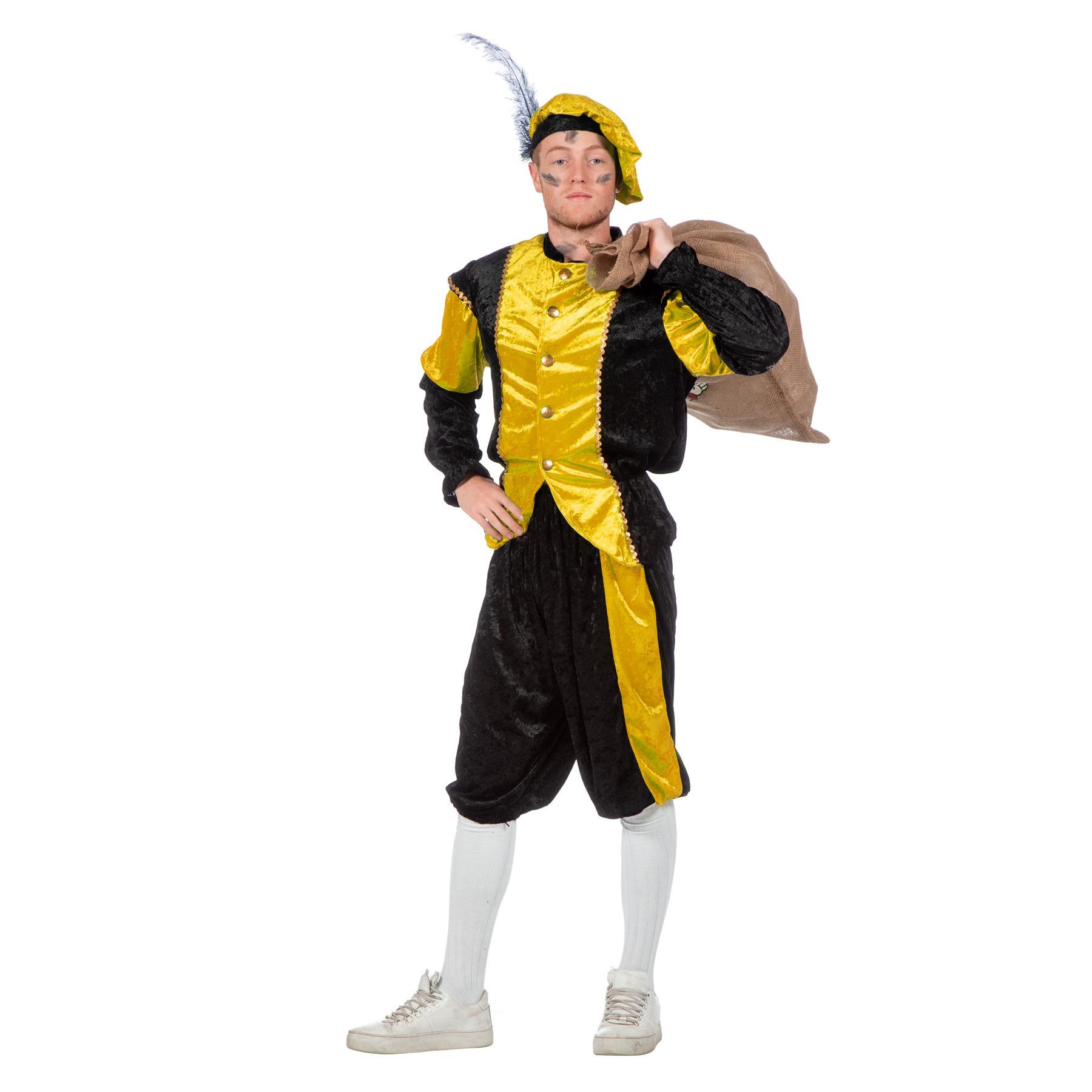 Merkloos Geel/zwart pieten kostuum budget