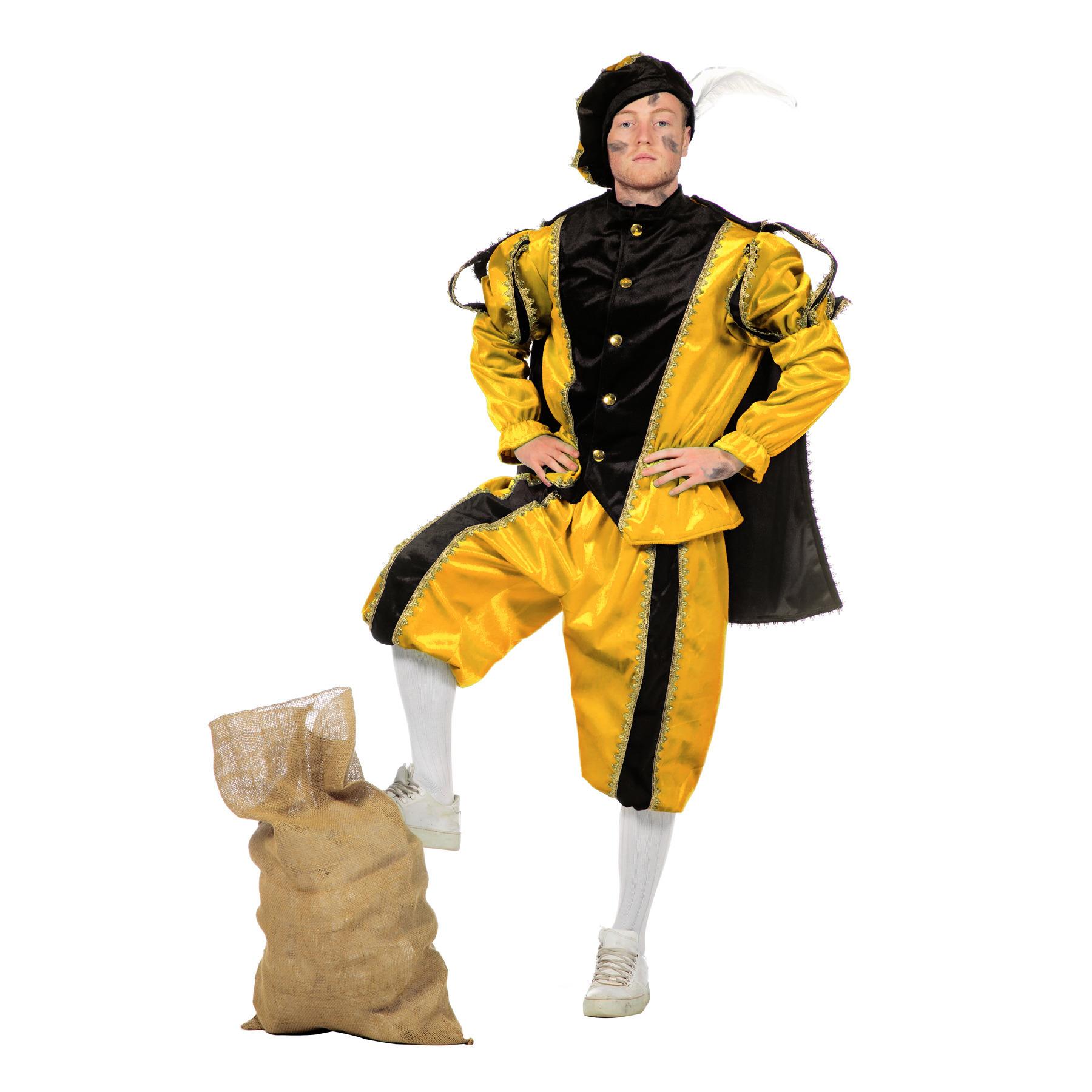 Merkloos Geel/zwarte pieten kostuum fluweel