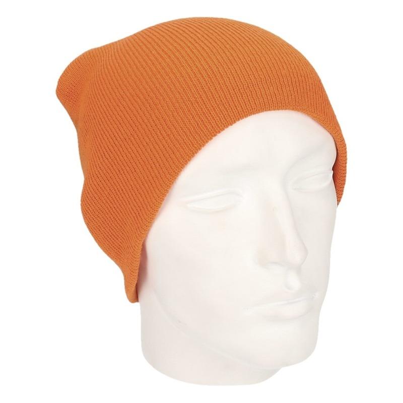 Gekleurde basic muts oranje voor heren