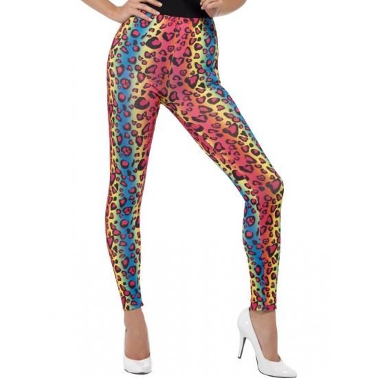 Gekleurde luipaardprint 80s legging verkleed kostuum voor dames