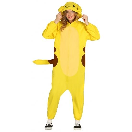 Gele cartoon chinchilla onesie voor volwassenen
