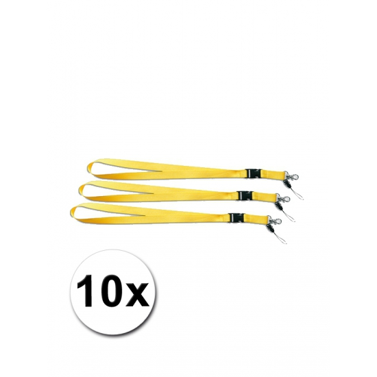 Gele lanyards 10 stuks