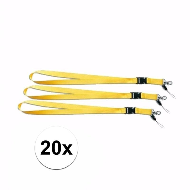 Gele lanyards 20 stuks