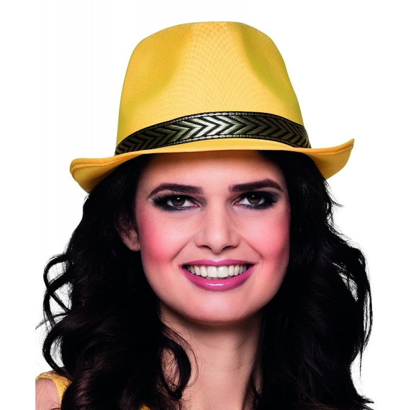 Gele trilby hoed voor volwassenen