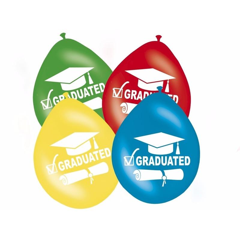 Geslaagd versiering ballonnen graduated 8 stuks
