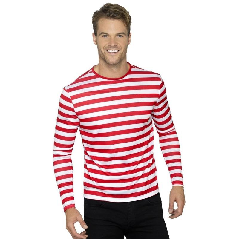Gestreept shirt wit/rood voor volwassenen