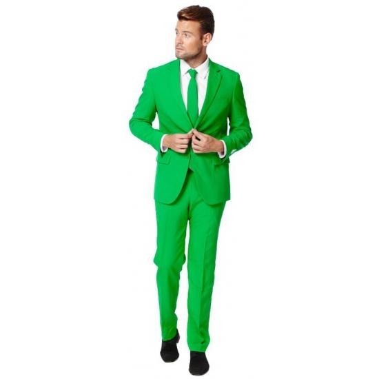 Getailleerd groen pak voor heren