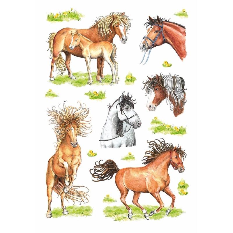 Getekende paarden stickers 3 vellen