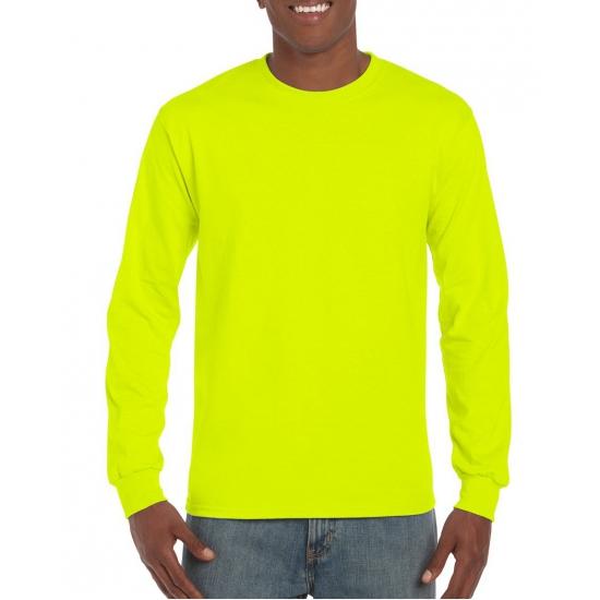Gildan t-shirt lange mouw lichtgevend geel