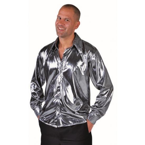 Glimmende zilveren cabaret blouse voor heren
