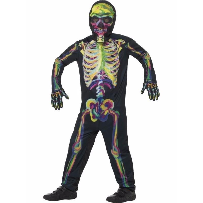 Glow in the dark kinderen kostuum gekleurde skelet