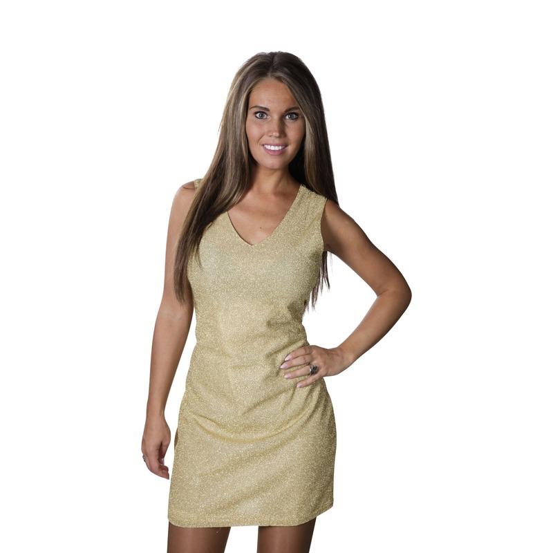 Gouden disco jurkje met glitters dames
