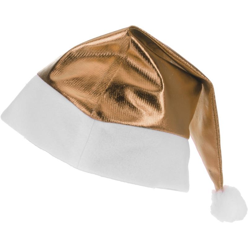 Gouden glimmende Kerstman kerstmuts voor volwassenen