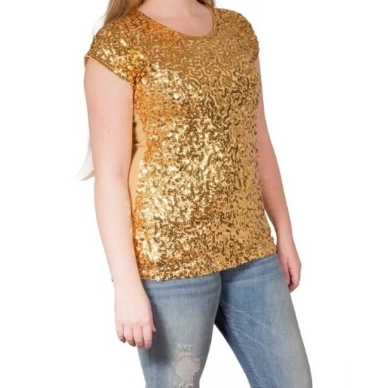 Gouden glitter pailletten disco shirt dames L/XL