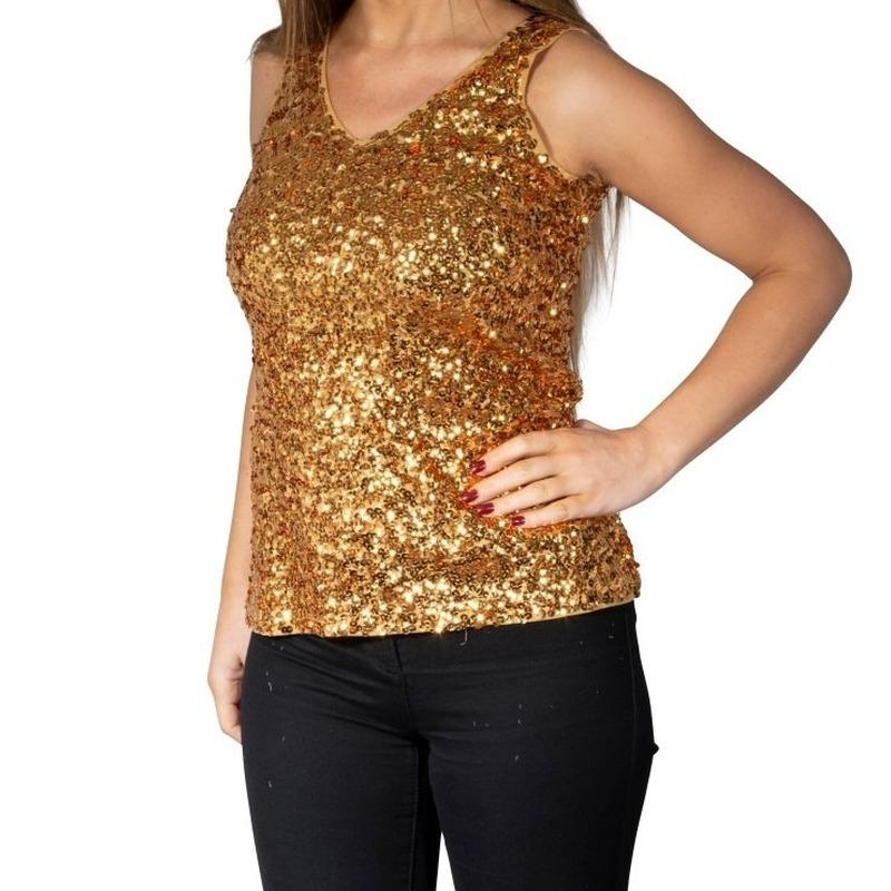 Gouden glitter pailletten disco topje/ mouwloos shirt dames