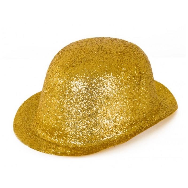 Merkloos Gouden glitter verkleed bolhoeden van plastic