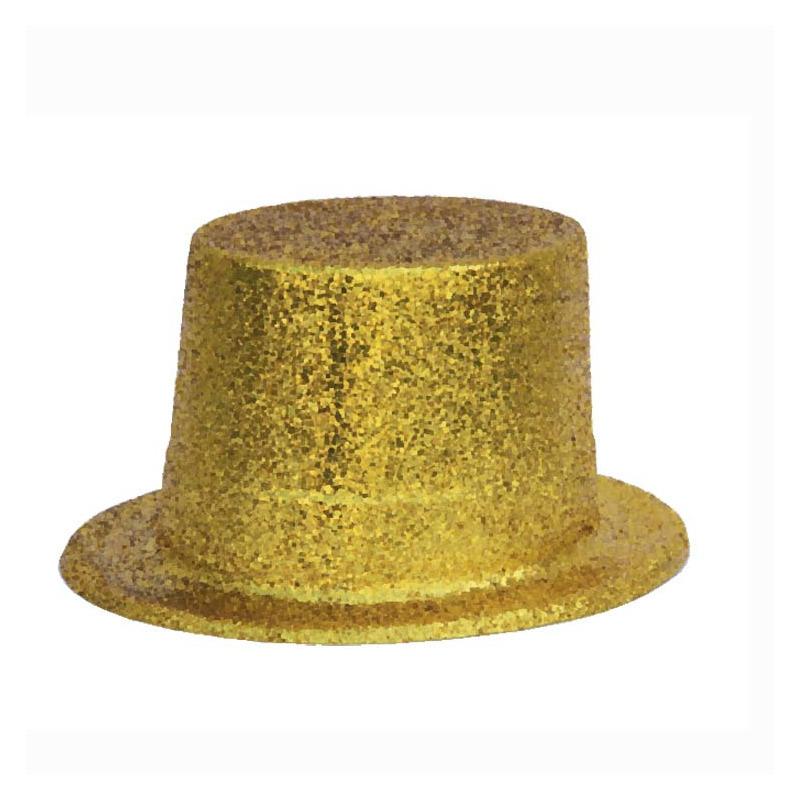Merkloos Gouden glitter verkleed hoed volwassenen
