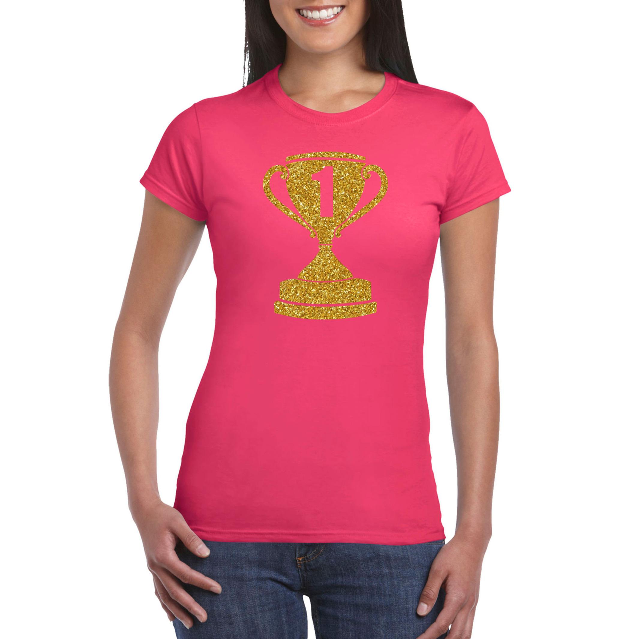 Gouden kampioens beker - nummer 1 t-shirt - kleding roze dames
