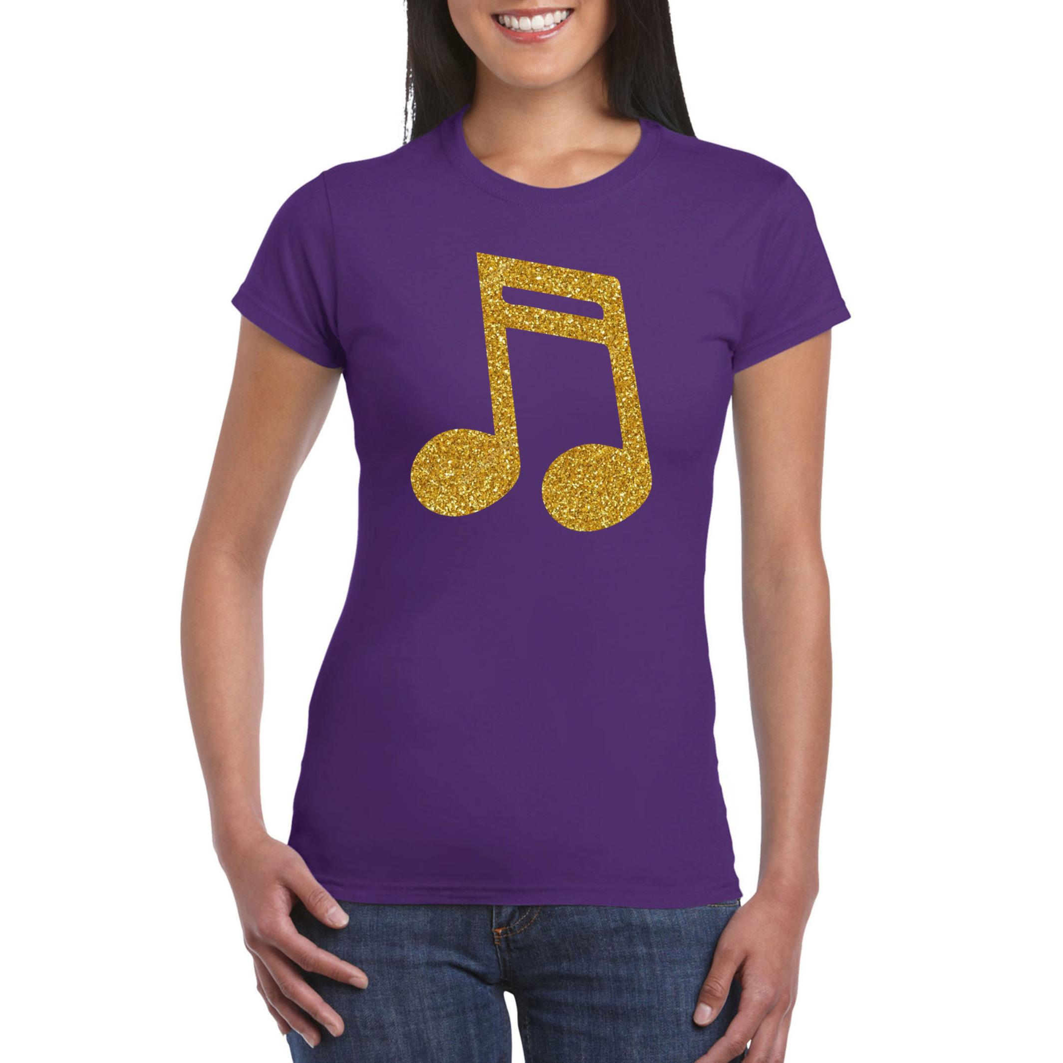 Gouden muziek noot - muziek feest t-shirt - kleding paars dames